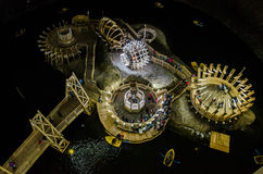 Lake and boats in the salt mine Turda, Cluj, Romania. Futuristic wooden structures Stock Photography