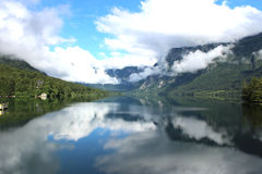 Lake Bohinj, Slovenia. A view of Lake Bohinj in Slovenian taken from the bridge Royalty Free Stock Photo