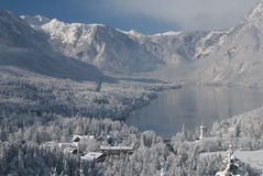Lake Bohinj in winter Royalty Free Stock Photography