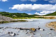 Lake Boiling vulcan Golovnina Royalty Free Stock Photography