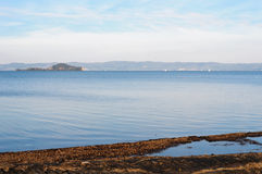 Lake Bolsena with the Bisentina Island Royalty Free Stock Photo