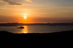 Lake Bolsena sunset aerial view (Lazio - Viterbo Italy) Royalty Free Stock Images