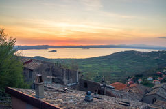 Lake Bolsena sunset from the roofs of Montefiascone village (Laz Stock Images