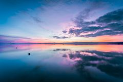 Lake Bolsena at sunset. A wonderful place surrounded by the countryside of Lazio. It is the largest volcanic lake in Europe Royalty Free Stock Photos