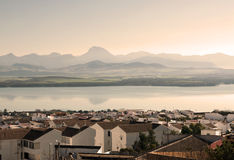 Lake Bornos. View of Lake Bornos from a white houses in the background are the mountains, is located in the Spanish province of Cadiz Stock Photo