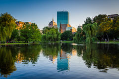The lake at the Boston Public Garden and buildings at Copley Squ. Are, in Boston, Massachusetts Stock Images