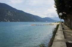 Lake Bourget and walk way of Aix-les-bains. View of Lake Bourget and walk way of Aix-les-bains, in french alps, France Stock Images