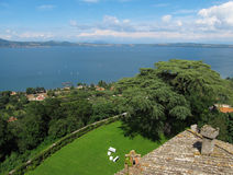 Lake Bracciano Panoramic view. Panoramic view of Lake Bracciano from the castle wall of Castello Orsini-Odescalchi Stock Photo