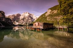 Lake Braies also known as Pragser Wildsee  in beautiful mountain landscape. Relaxing and recreation at Lago di Braies in Dolomites royalty free stock image