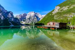 Lake Braies also known as Pragser Wildsee  in beautiful mountain landscape. Relaxing and recreation at Lago di Braies in Dolomites stock image