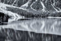 Lake of Braies in black and white landscape stock photo