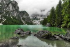 Lake of Braies in cloudy day Stock Photography