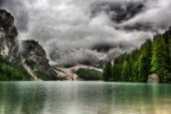 Lake of Braies in a cloudy morning Stock Photography