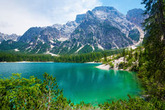 Lake Braies in Italy Royalty Free Stock Photography