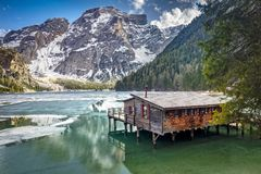 Lake of braies in italy Stock Image