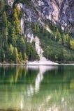 Lake Braies known as Lago di Braies. Stock Photo