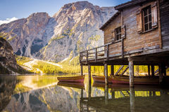 Lake Braies - Lago di Braies. Dolomites Mountains, Italy Royalty Free Stock Photography