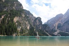 Lake Braies Lago di Braies Stock Image