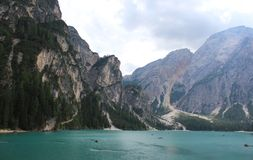 Lake Braies Lago di Braies Royalty Free Stock Images