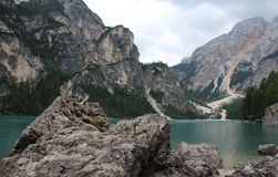 Lake Braies Lago di Braies Royalty Free Stock Photo