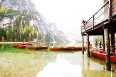 Autumn scenery of Lake Braies in Dolomite Alps stock photography