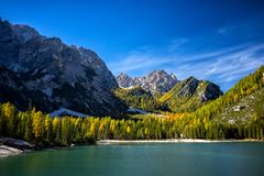 Braies Lake, Dolomites, Trentino Alto Adige, Italy. Lake Braies is a small alpine lake located in the Val di Braies at 1,496 m above sea level. in the stock photos