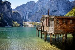 Braies Lake, Dolomites, Trentino Alto Adige, Italy. The lake of Braies is a small alpine lake located in Val di Braies a valley at the Val Pusteria at 1,496 m. S stock images