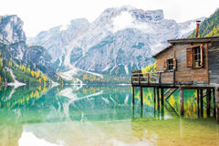 Lake braies in south tyrol, italy stock images