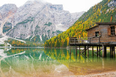 Lake braies in south tyrol, italy Stock Photography