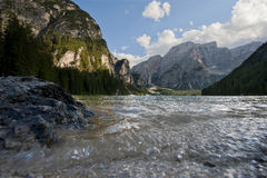 Lake Braies in a sunny day of Summer, Dolomites, Trentino, Italy Royalty Free Stock Photos