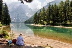 Lake of braies stock photo