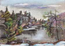 Lake with breakage beach. Winter, cold stock illustration