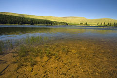 Lake at Brecon Beacons National Park, Wales. You can see the rocks on the bottom of the lake Royalty Free Stock Photo