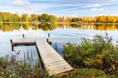 Lake bridge in autumn Stock Photography