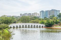 Lake and the bridge at the Chinese Garden and Japanese Garden, Singapore. The Lake and the bridge at the Chinese Garden and Japanese Garden, Singapore royalty free stock photo