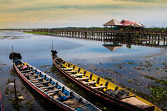 Lake with bridge Royalty Free Stock Photo