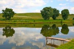 Lake and bridge for fishing Stock Photos