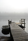 Lake bridge in foggy morning Stock Photography