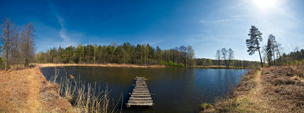 Lake with a bridge panorama Royalty Free Stock Photography