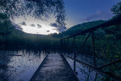 Lake. Bridge in lake in Russian Federation Stock Photo