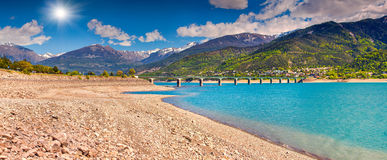 Lake bridge Serre-Poncon, Alps, France Stock Photo
