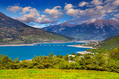 Lake bridge Serre-Poncon, Alps, France. Stock Images