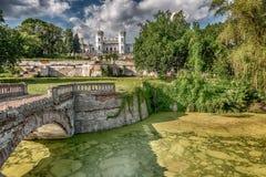 Lake and bridge in Sharovka park Royalty Free Stock Image