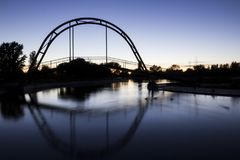 Lake with a bridge on a summer night stock photography