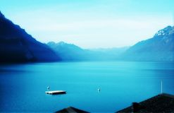 Lake Brienz. The most beautiful lake in Switzerland.  It was taken on the Goldenpass Line near Brienz Stock Images