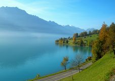 Lake Brienz. Which is known as the most beautiful lake at central Switzerland. The photo was taken on the Goldenpass line Stock Photos
