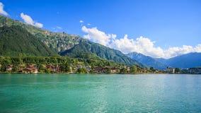 Lake Brienz Brienzersee Embankment Scenery view from cruise boat, Interlaken, Switzerland, Europe Stock Images