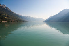 Lake Brienz in the morning. Sunlight on the lake Brienz, Switzerland stock photo