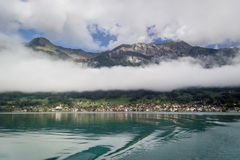 Lake Brienz, Mountains and Low Cloud Royalty Free Stock Photo