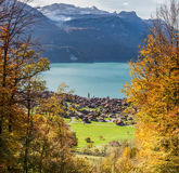 Lake Brienz and Swiss Village Stock Photo